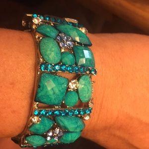 Turquoise and rhinestones cuff bracelet